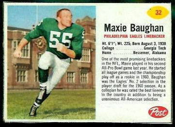 Maxie Baughan 1962 Post Cereal football card