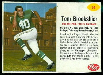Tom Brookshier 1962 Post Cereal football card