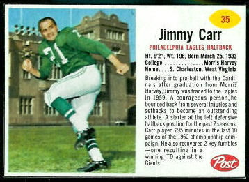 Jimmy Carr 1962 Post Cereal football card