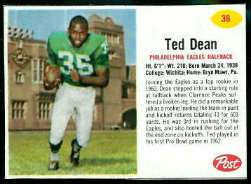 Ted Dean 1962 Post Cereal football card