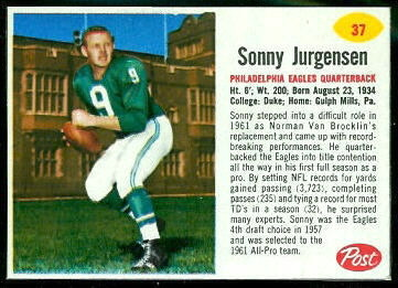 Sonny Jurgensen 1962 Post Cereal football card