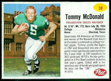 Tommy McDonald 1962 Post Cereal football card
