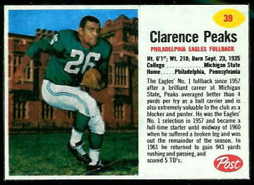 Clarence Peaks 1962 Post Cereal football card