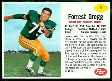 Forrest Gregg 1962 Post Cereal football card