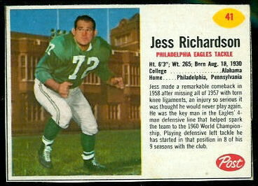 Jesse Richardson 1962 Post Cereal football card