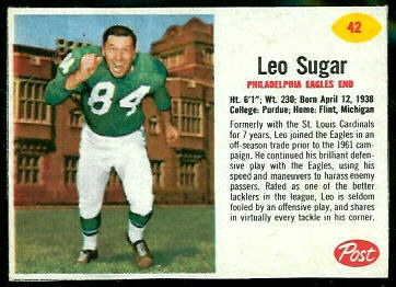 Leo Sugar 1962 Post Cereal football card