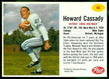 Howard Cassady 1962 Post Cereal football card
