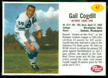 Gail Cogdill 1962 Post Cereal football card