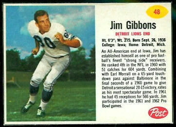 Jim Gibbons 1962 Post Cereal football card