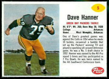 Dave Hanner 1962 Post Cereal football card