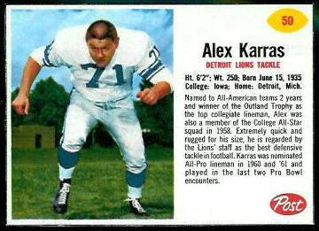 Alex Karras 1962 Post Cereal football card