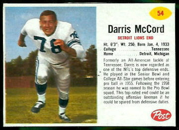 Darris McCord 1962 Post Cereal football card
