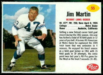 Jim Martin 1962 Post Cereal football card