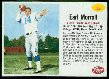 Earl Morrall 1962 Post Cereal football card