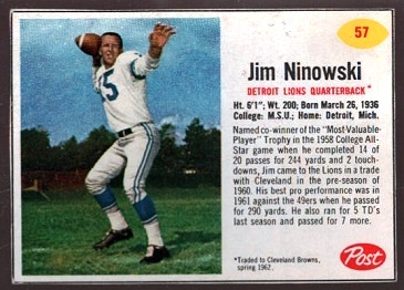 Jim Ninowski 1962 Post Cereal football card