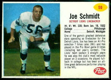 Joe Schmidt 1962 Post Cereal football card