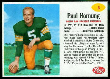 Paul Hornung 1962 Post Cereal football card