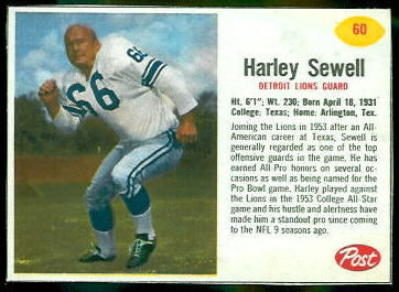 Harley Sewell 1962 Post Cereal football card