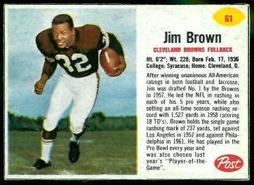 Jim Brown 1962 Post Cereal football card