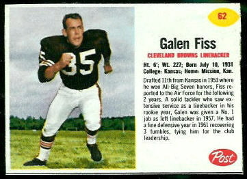 Galen Fiss 1962 Post Cereal football card