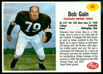 Bob Gain 1962 Post Cereal football card