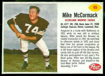 Mike McCormack 1962 Post Cereal football card