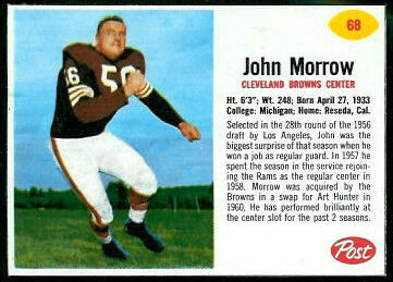 John Morrow 1962 Post Cereal football card