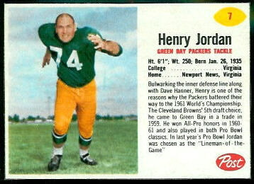 Henry Jordan 1962 Post Cereal football card