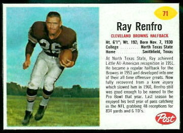Ray Renfro 1962 Post Cereal football card