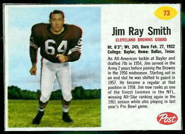 Jim Ray Smith 1962 Post Cereal football card