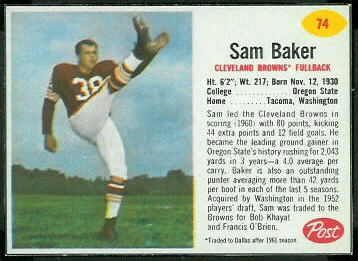 Sam Baker 1962 Post Cereal football card