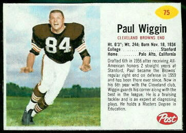 Paul Wiggin 1962 Post Cereal football card