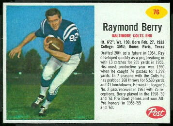 Raymond Berry 1962 Post Cereal football card