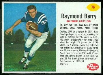 Raymond Berry 1962 Post Cereal football card