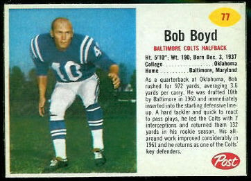 Bob Boyd 1962 Post Cereal football card