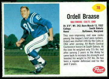 Ordell Braase 1962 Post Cereal football card