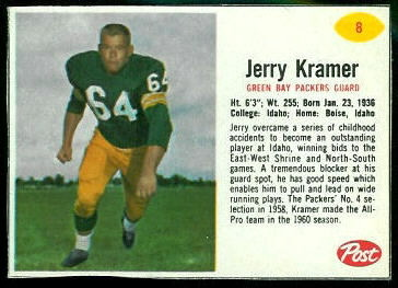 Jerry Kramer 1962 Post Cereal football card