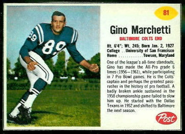 Gino Marchetti 1962 Post Cereal football card