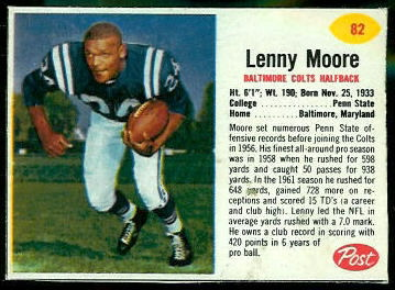 Lenny Moore 1962 Post Cereal football card