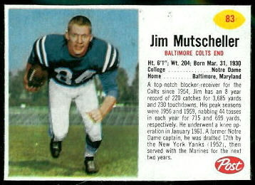 Jim Mutscheller 1962 Post Cereal football card