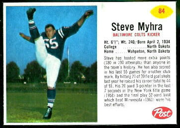 Steve Myhra 1962 Post Cereal football card