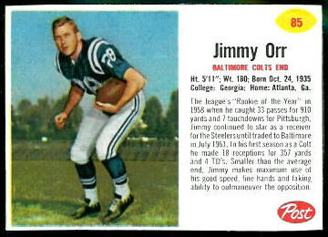 Jimmy Orr 1962 Post Cereal football card
