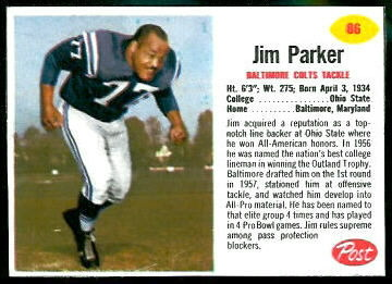 Jim Parker 1962 Post Cereal football card