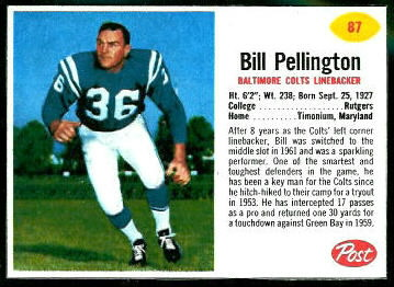 Bill Pellington 1962 Post Cereal football card