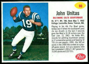 John Unitas 1962 Post Cereal football card