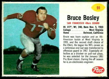 Bruce Bosley 1962 Post Cereal football card