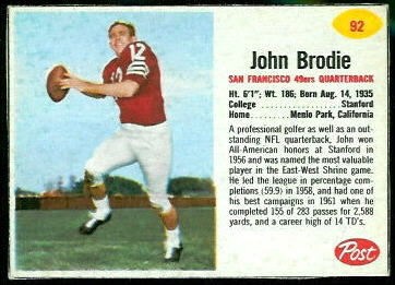 John Brodie 1962 Post Cereal football card