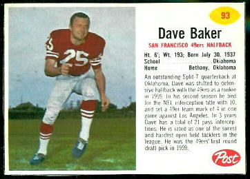 Dave Baker 1962 Post Cereal football card
