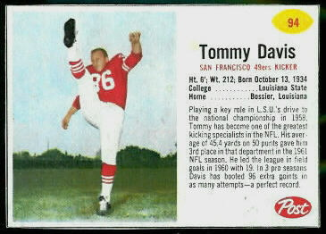 Tommy Davis 1962 Post Cereal football card