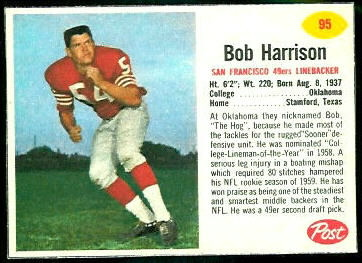 Bob Harrison 1962 Post Cereal football card